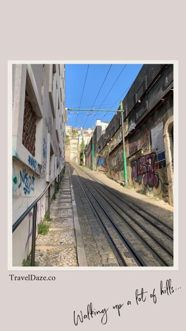 collage layout with photo of funicular tracks in Lisbon