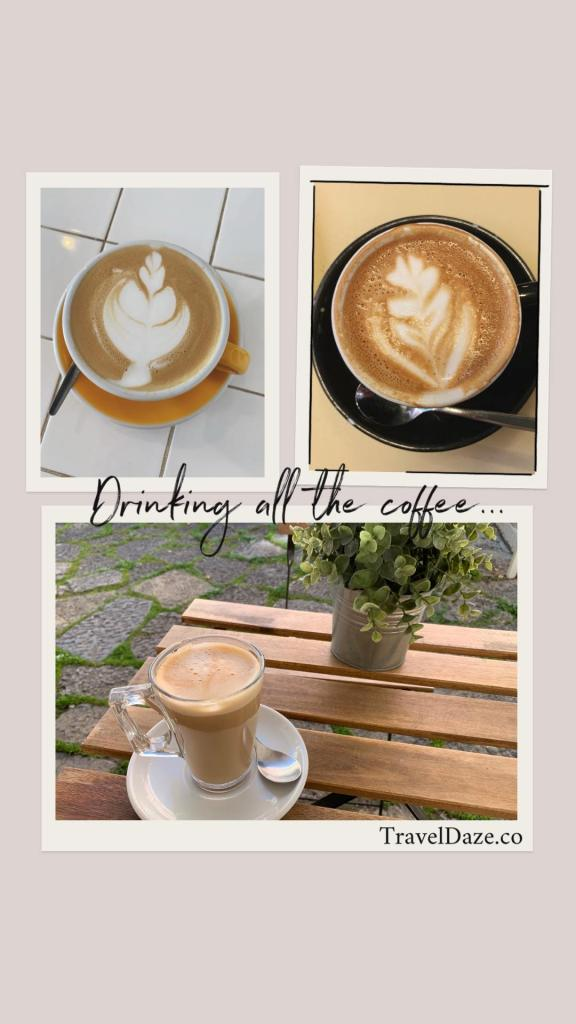 collage layout with three photos of coffee
