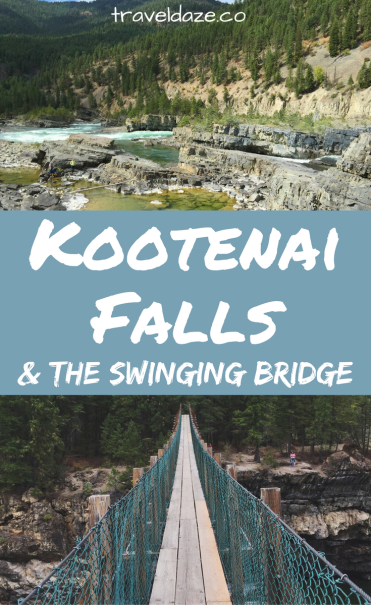 Kootenai Falls in western Montana is a fun place to stop off on a road trip. Climb around the waterfalls and walk across the swinging bridge.