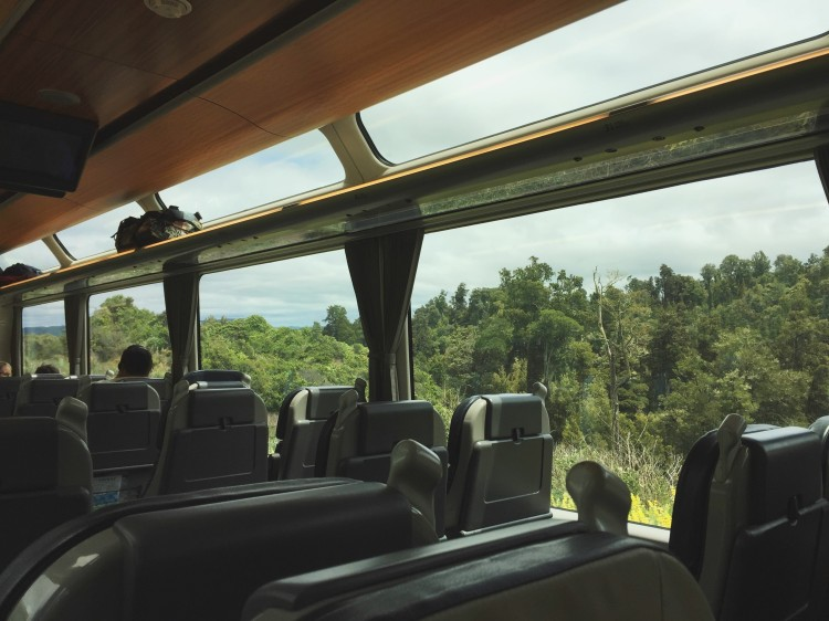 inside of a train with picturesque windows