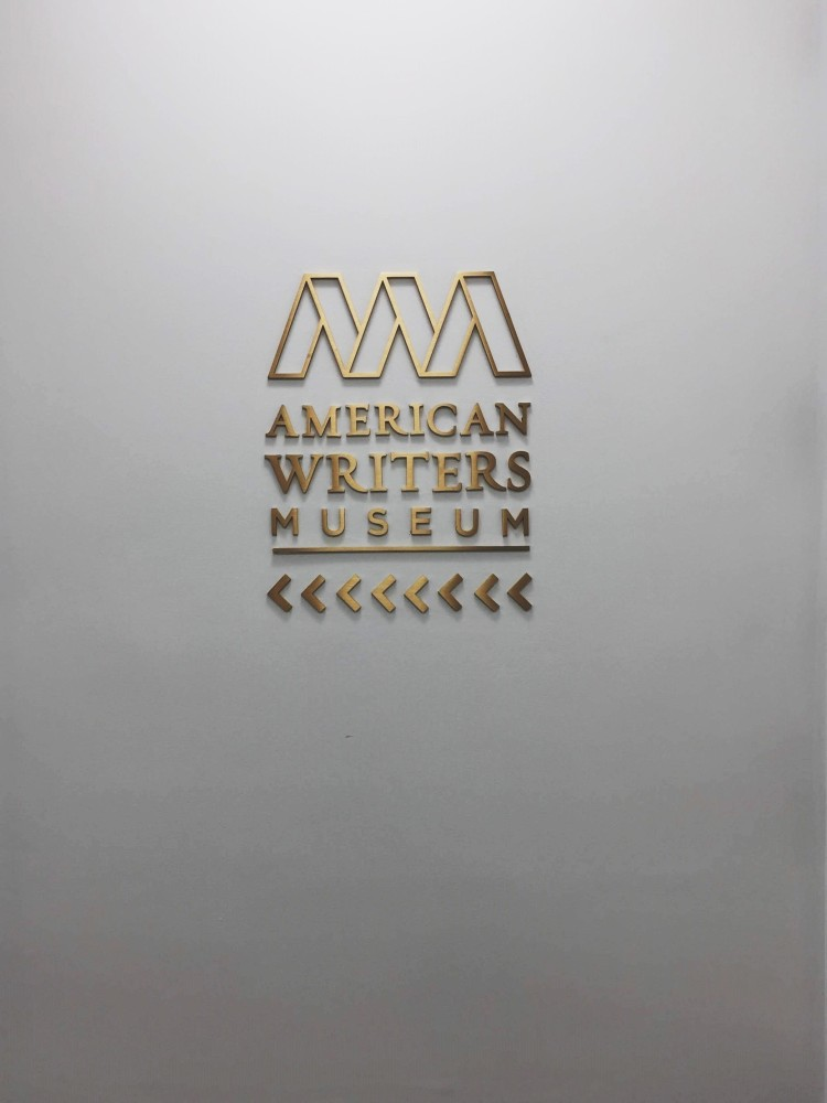 American Writers Museum Chicago sign on white wall