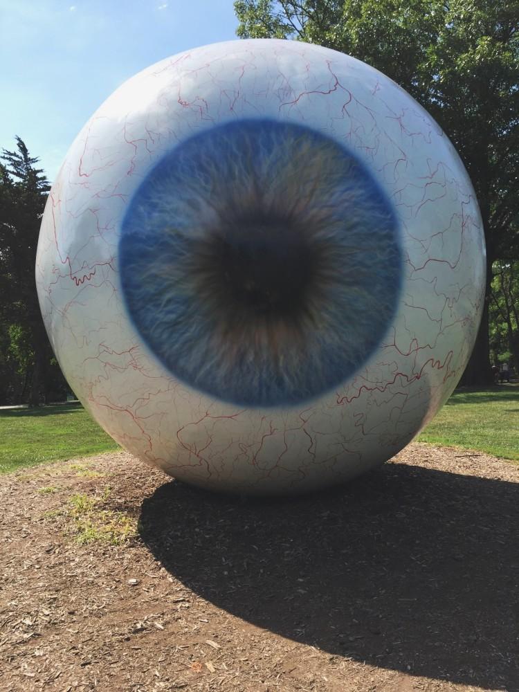 Large-scale eyeball sculpture