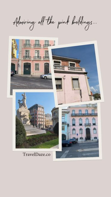 collage layour with four photos of pink buildings