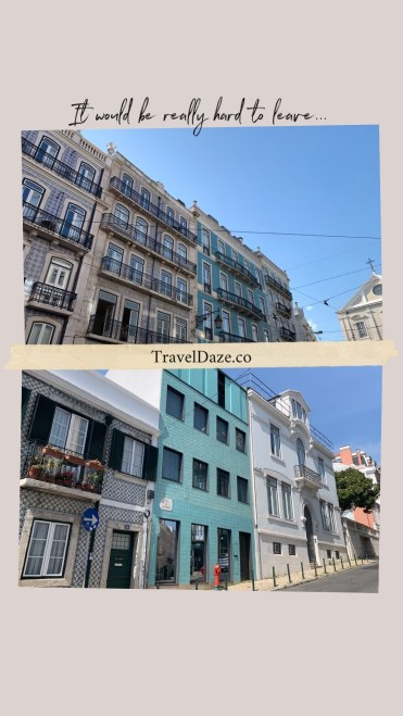 collage layout with two photos of buildings in Lisbon