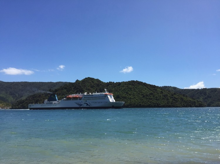 a ferry out in the water