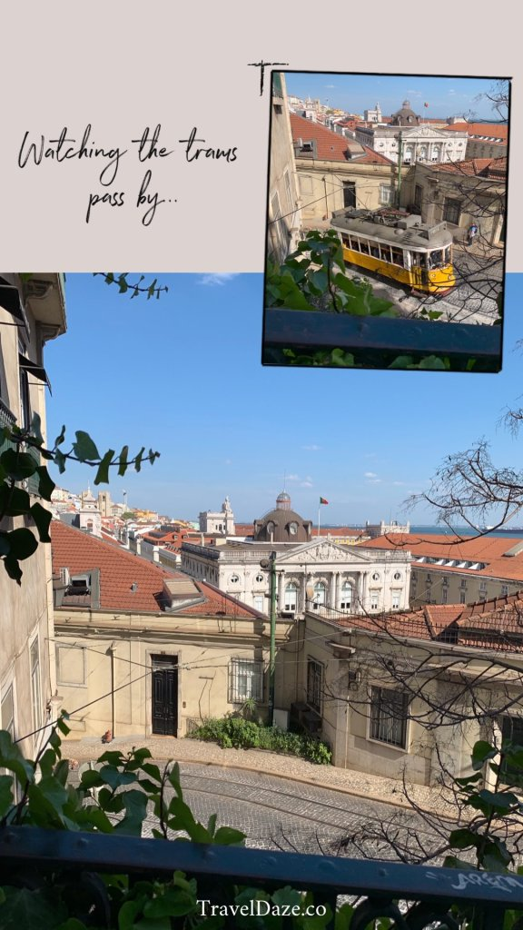 collage layout with photos of Lisbon and the yellow trams
