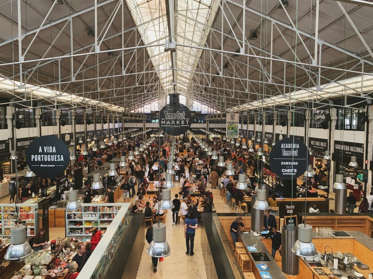 view of Lisbon's Time Out food hall from above