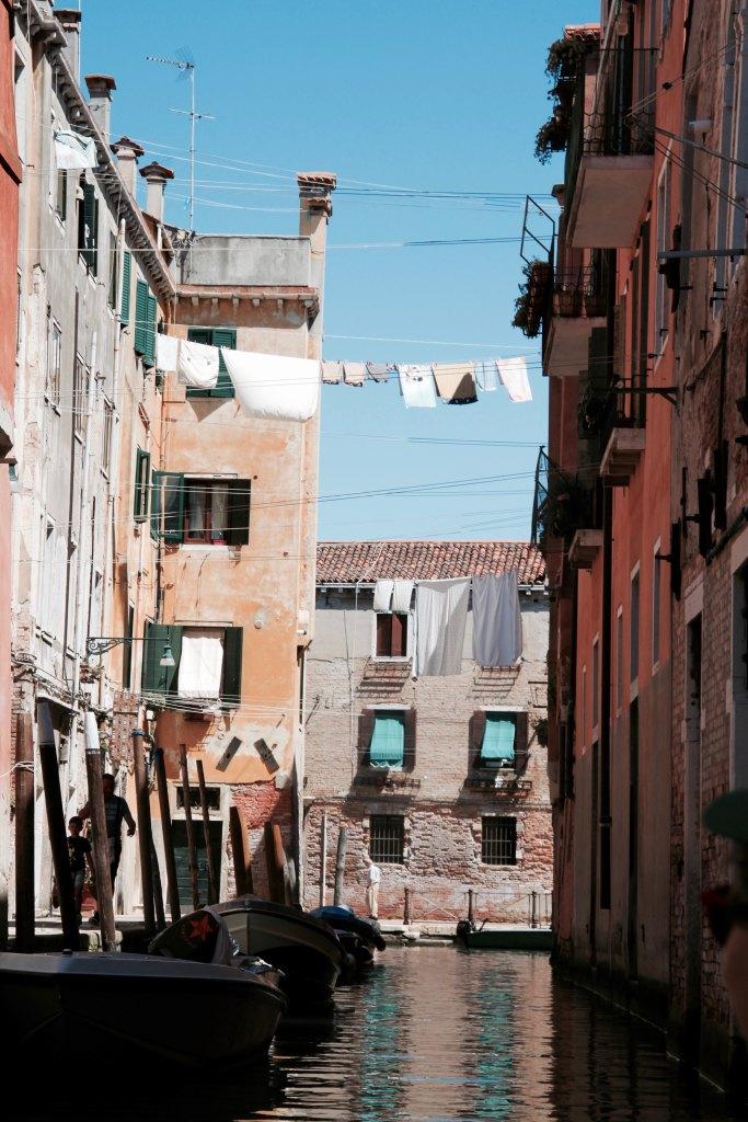 laundry hanging between buildings