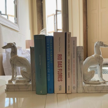 stack of books in Airbnb
