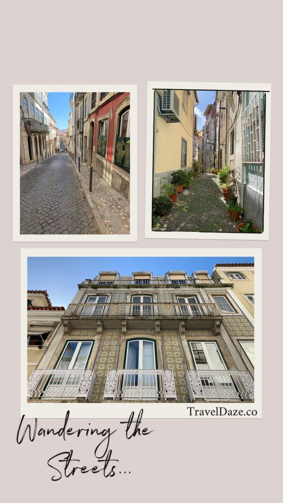 collage layout with three photos of Lisbon street scenes