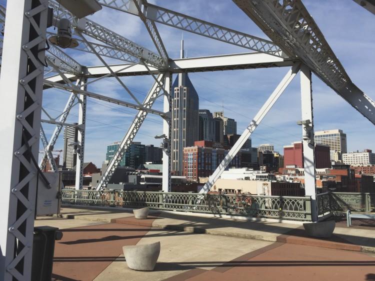 Downtown Nashville Skyline from Pedestrian Bridge