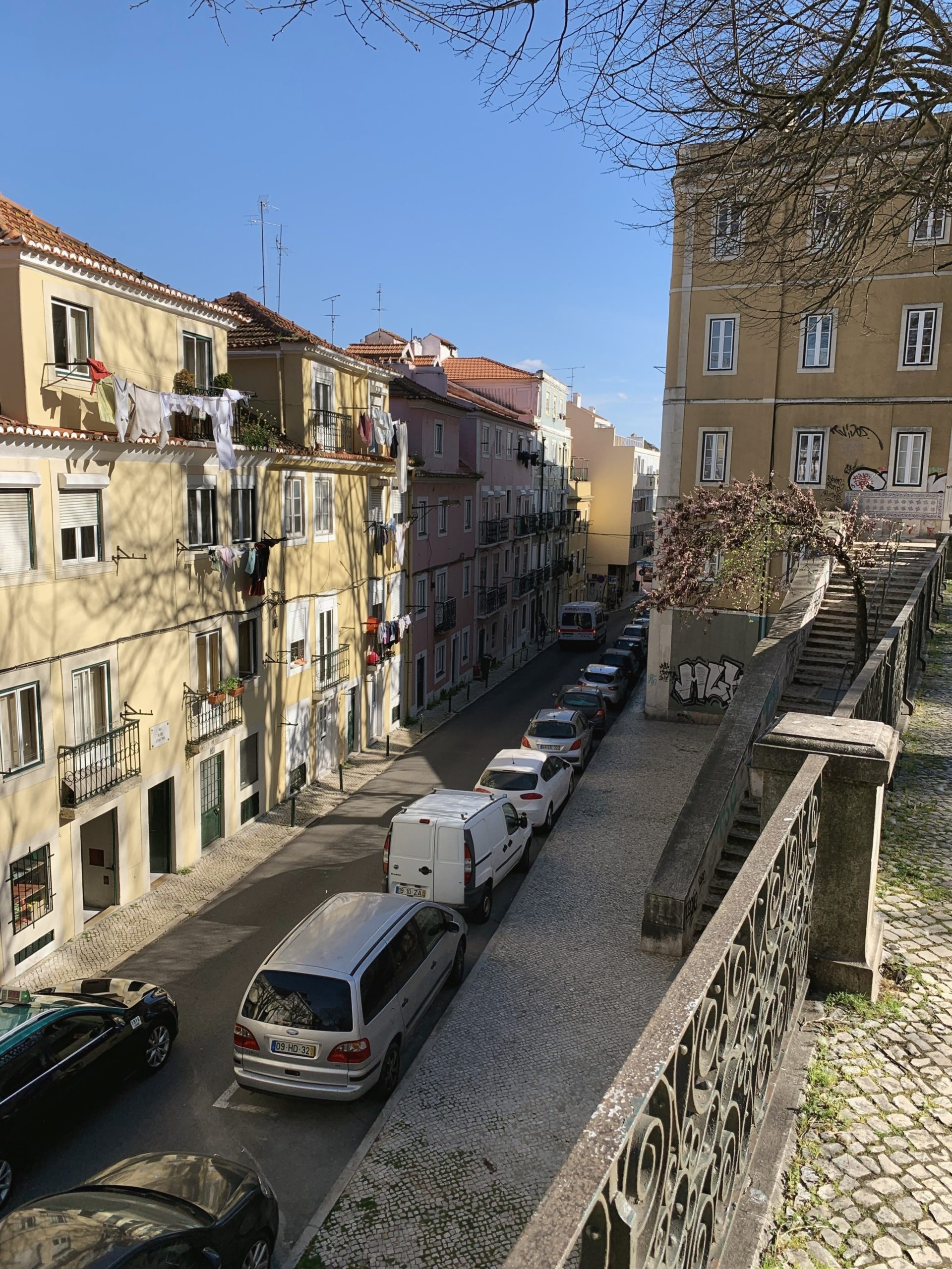 cars lined up on the streets of Lisbon