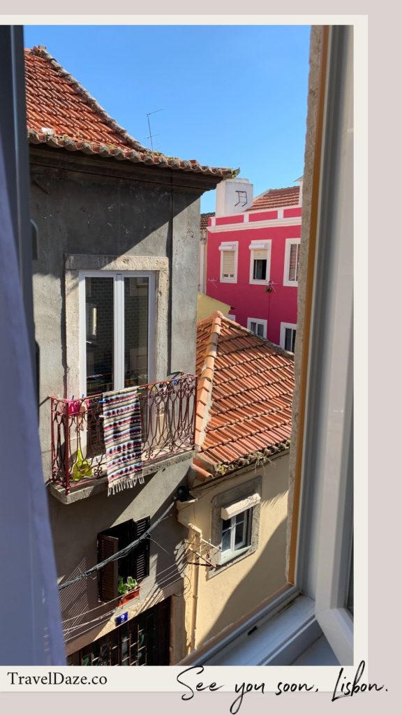 looking through a window at buildings